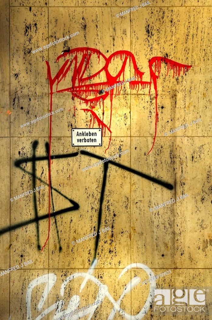 Stock Photo: Germany, Graffiti on wall.