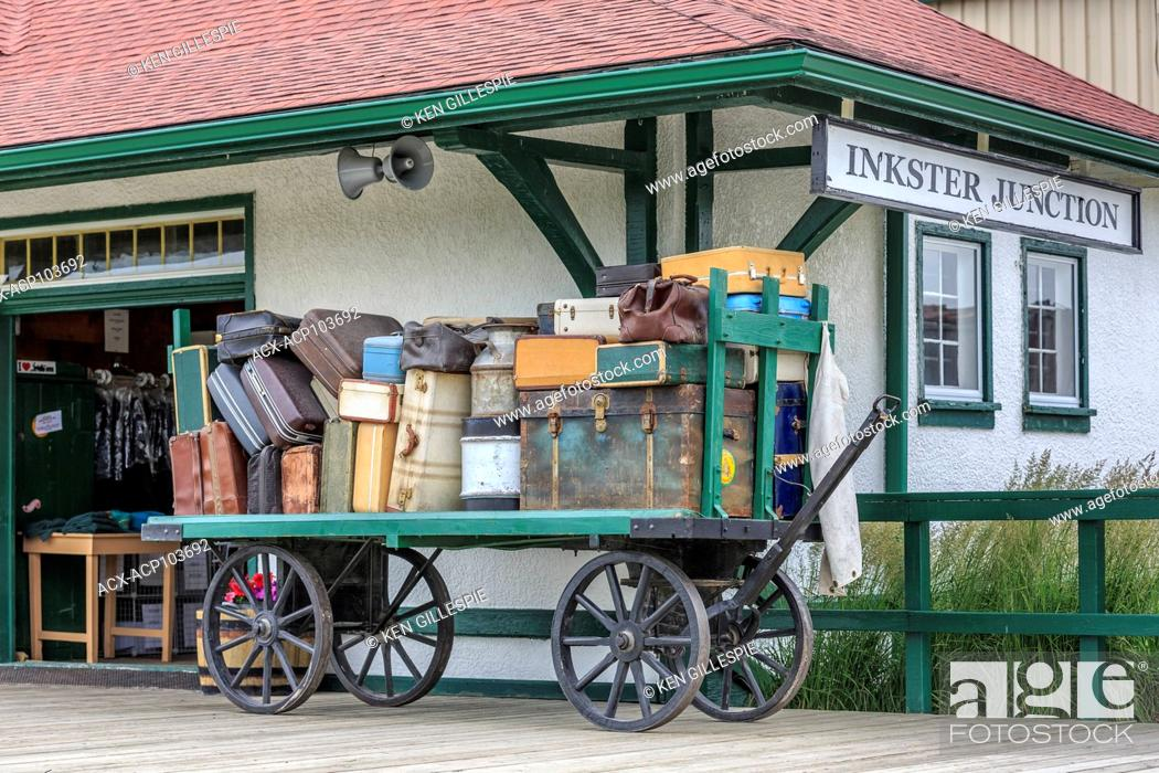 Stock Photo: Luggage on a vintage cart, Inkster Junction Station, Prairie Dog Central Railway, Winnipeg, Manitoba, Canada.
