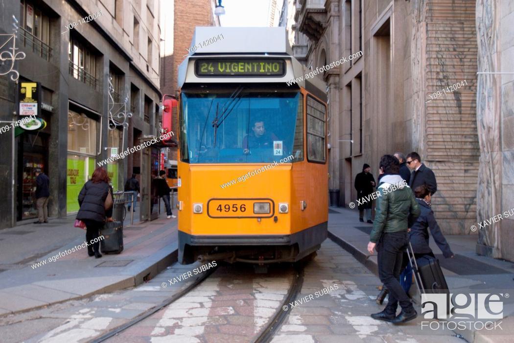 Stock Photo: Tram, Milan, Lombardy, Italy.