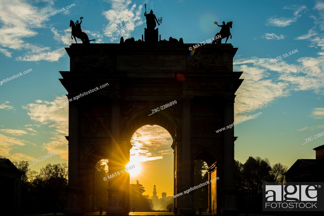Stock Photo: Arco della Pace and Castle Sforza in sunrise and blue sky with clouds in Milan, Italy.