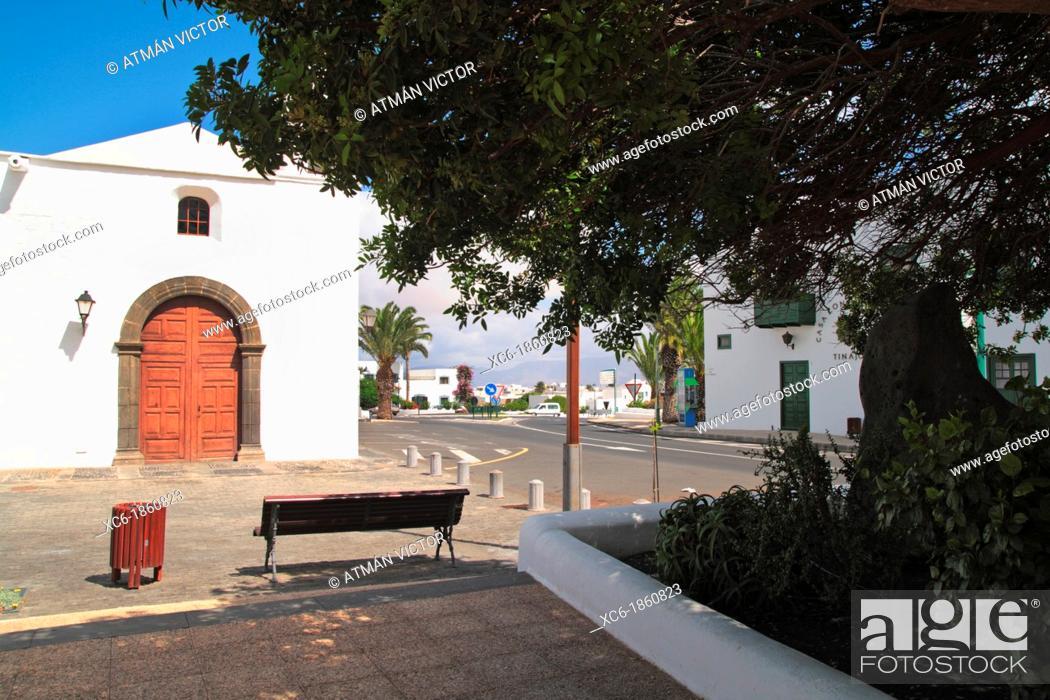 Stock Photo: Church, Tinajo, Las Palmas, Lanzarote, Canary Islands, Spain.