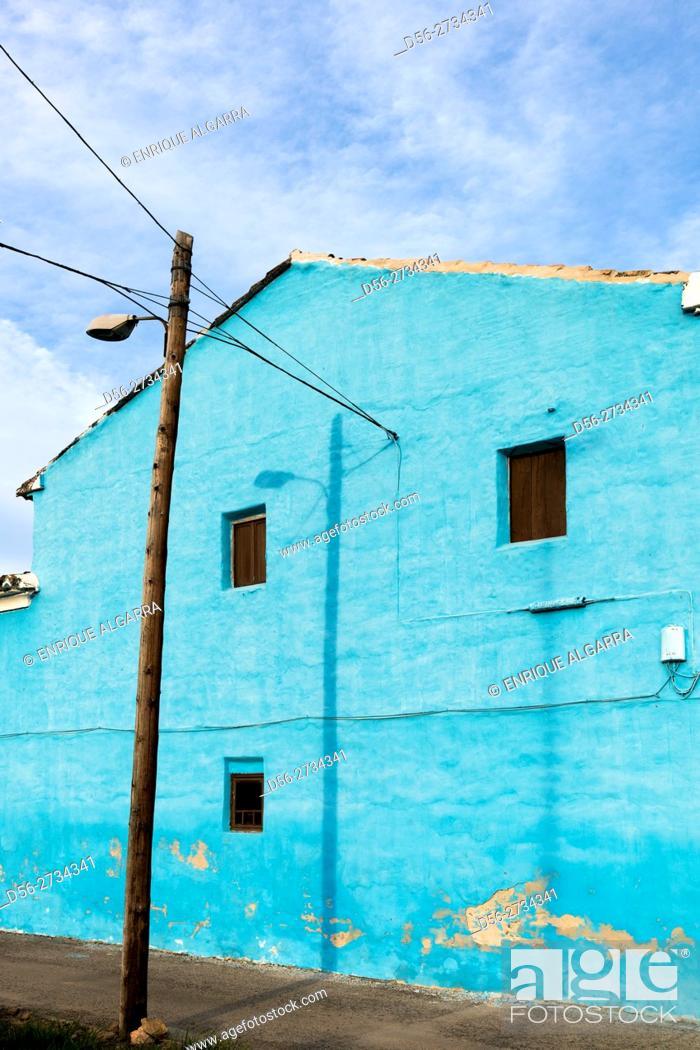 Stock Photo: Blue house, Alboraia, Valencia, Spain.