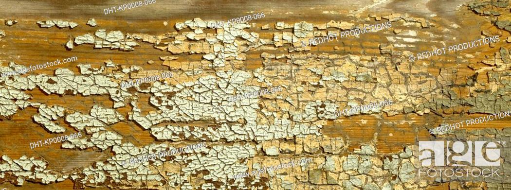 Stock Photo: Wood and cracked paint close up.