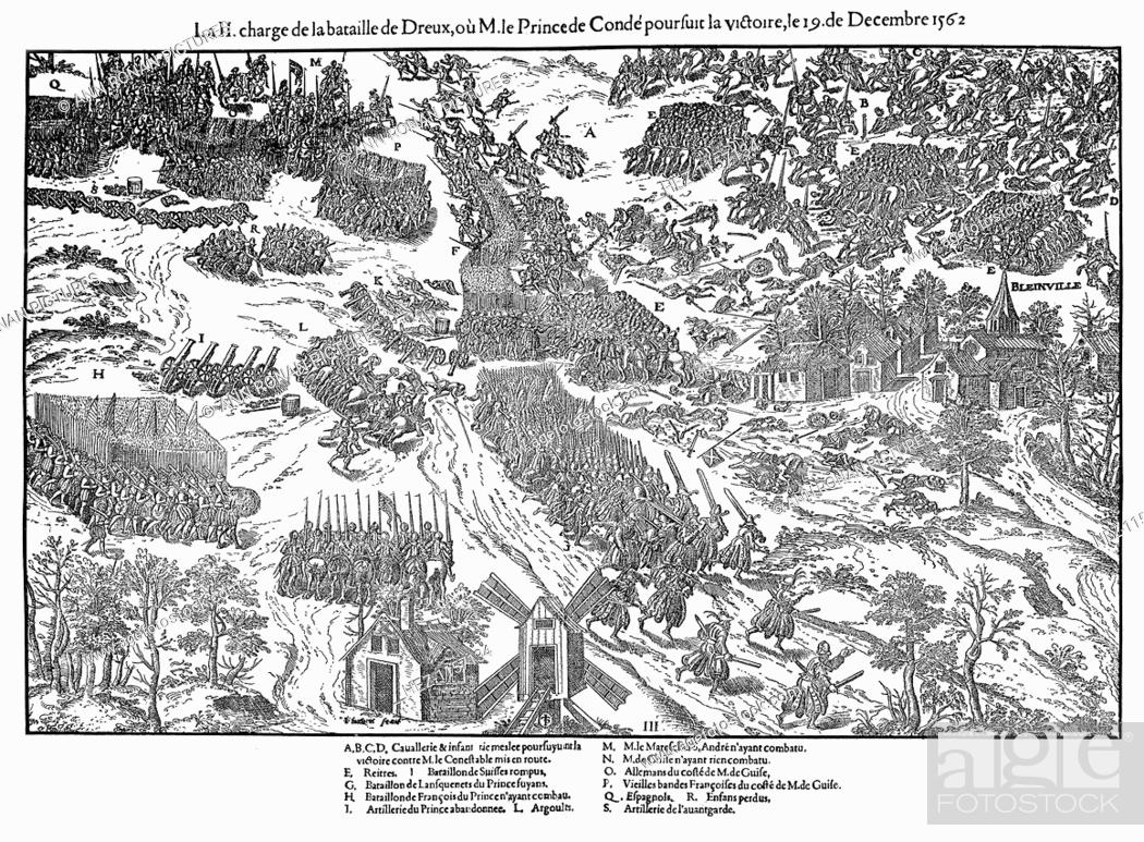 Imagen: Second charge at the Battle of Dreux, French Religious Wars, 19 December 1562 (1570). The outcome of the battle was indecisive.