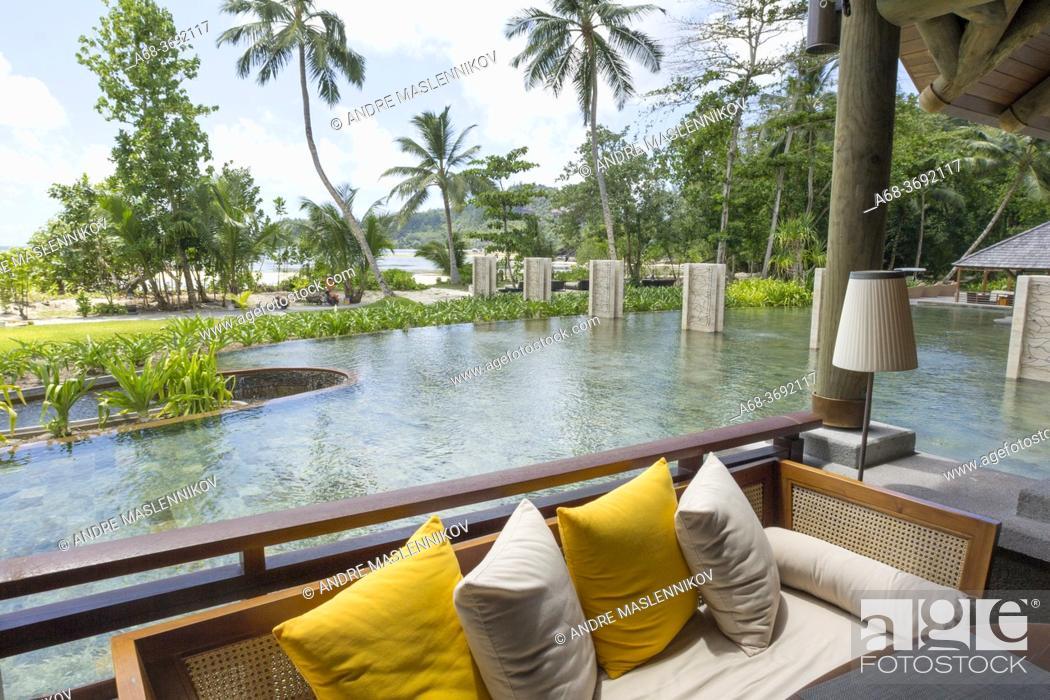 Stock Photo: Bar area on the beach in Constance Ephelia Resort on the west coast of Mahé island, Seychelles.