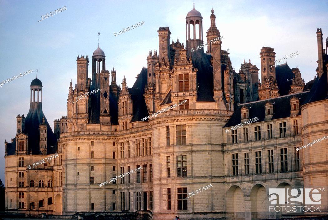 Stock Photo: The royal Château de Chambord at Chambord, Loir-et-Cher, France.