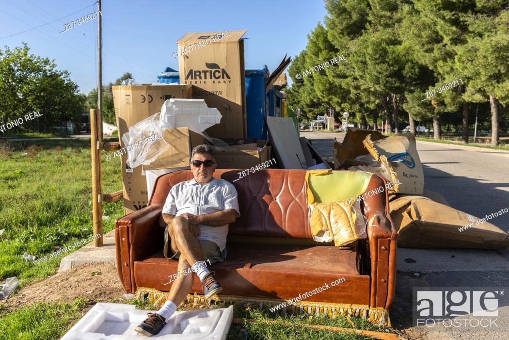 Stock Photo: Garbage in the city. Almansa, Albacete Province, Spain.
