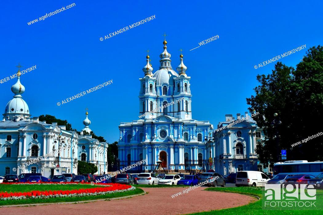 Stock Photo: Smolny Cathedral exterior facade panoramic view. Smolny Monastery. Baroque architecture style. Architect B. Rastrelli.