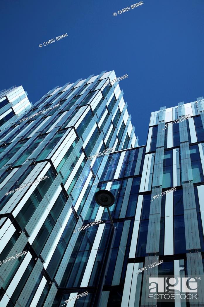 Stock Photo: Low angle view of modern architecture in Manchester UK.