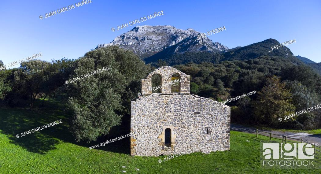 Imagen: View from a drone of the ruins of the hermitage of San Julian in the Liendo Valley in Cantabria, Spain, Europe.