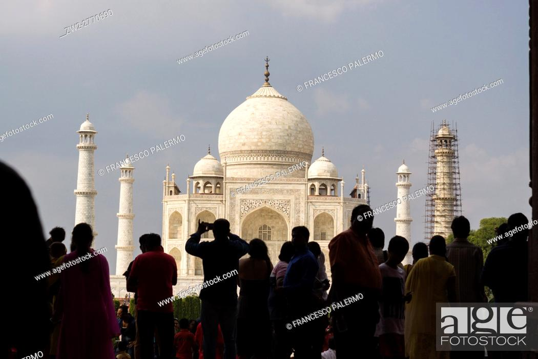 Human Silhouettes With Taj Mahal On Background Agra Uttar