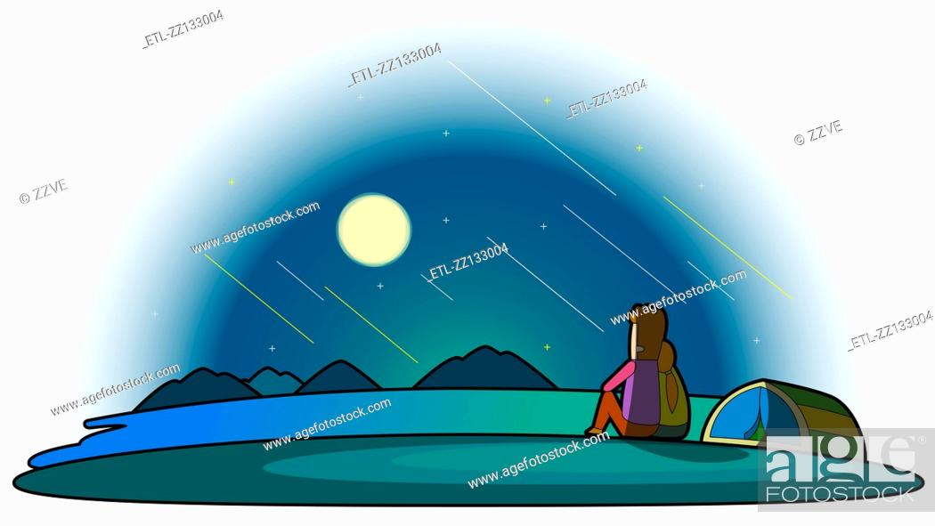 Stock Photo: Full moon in the camping place.