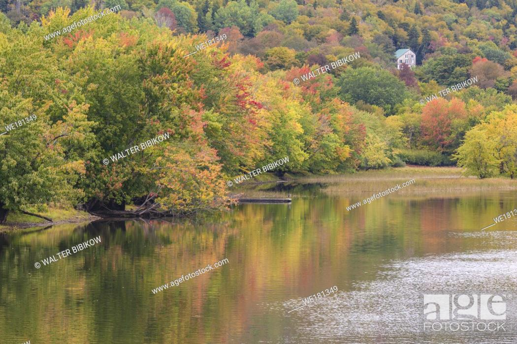 Imagen: Canada, New Brunswick, Kennebecasis River Valley, Hampton, autumn river foliage.