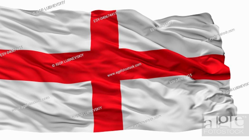 Photo de stock: Genoa City Flag, Country Italy, Isolated On White Background.