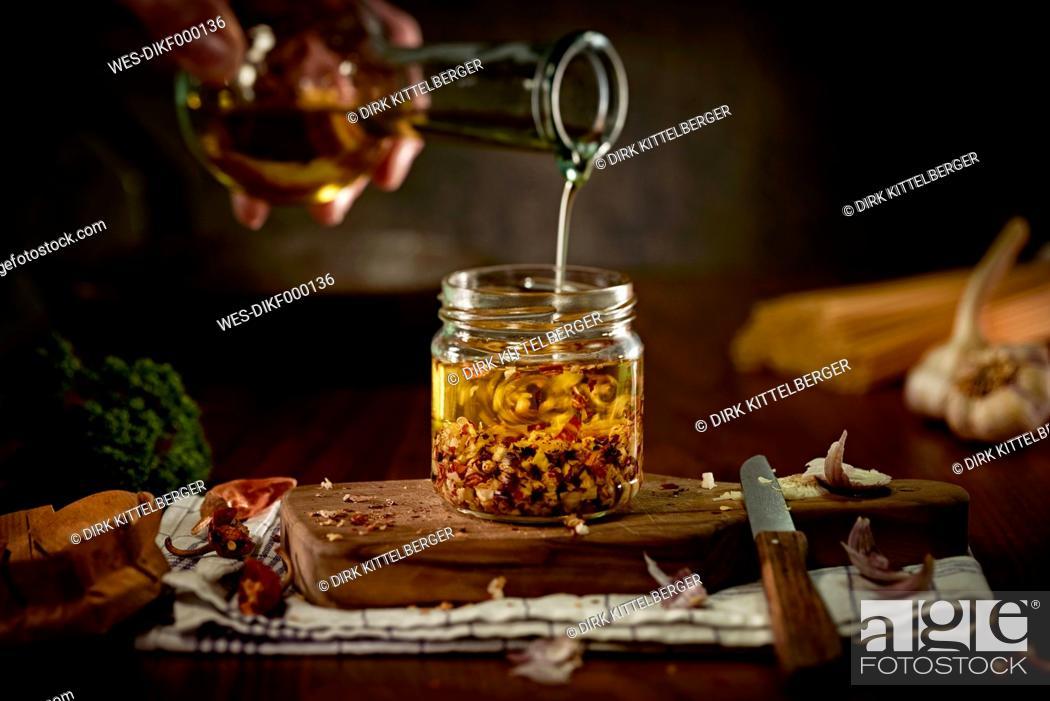 Stock Photo: Preparing of Aglio Olio e peperoncini.