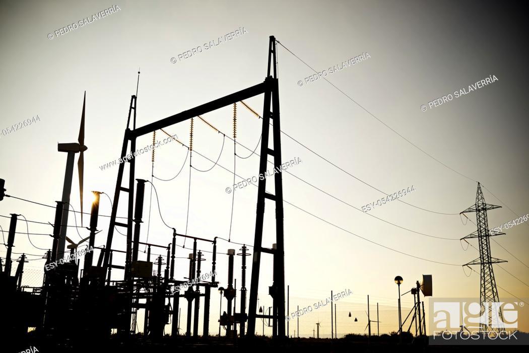 Stock Photo: Closeup of an electrical substation.