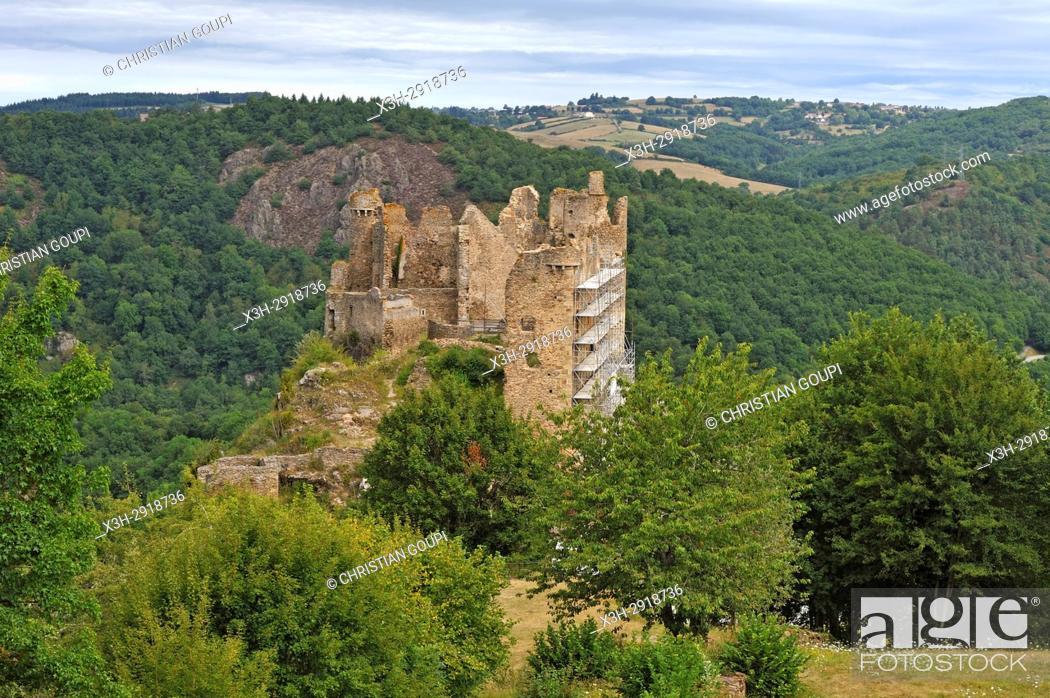 Stock Photo: ruins of Chateau-Rocher overhanging the Sioule River, Saint-Remy-de-Blot, Puy-de-Dome department, Auvergne-Rhone-Alpes region, France, Europe.