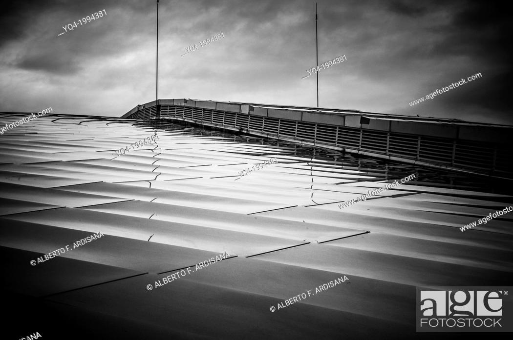 Stock Photo: Santander Sports Palace. black and white view of the rooftop.