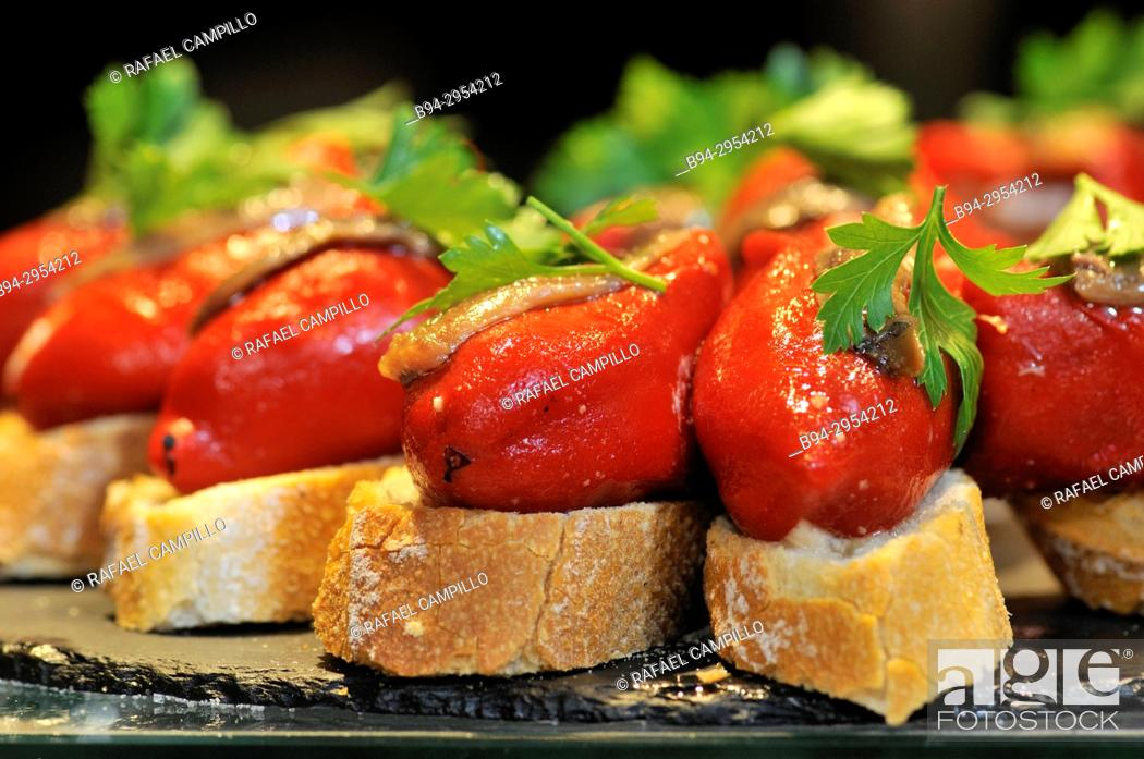 Stock Photo: Tapas. Stuffed red peppers. Mercat de Sant Josep aka La Boqueria Market, La Rambla, Ciutat Vella district. Barcelona. Catalonia. Spain.