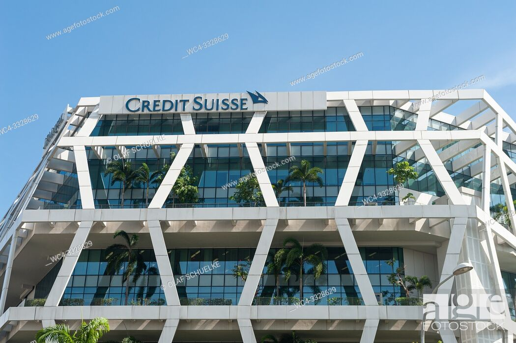 Stock Photo: Singapore, Republic of Singapore, Asia - Modern Credit Suisse bank building at Changi Business Park.