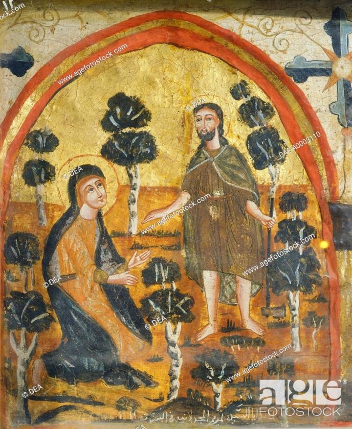 Stock Photo: Christ and Mary Magdalene (Noli Me Tangere), by an unknown artist from the Byzantine-influenced Coptic school, Wooden icon, Church of St Barbara, Cairo, Egypt.