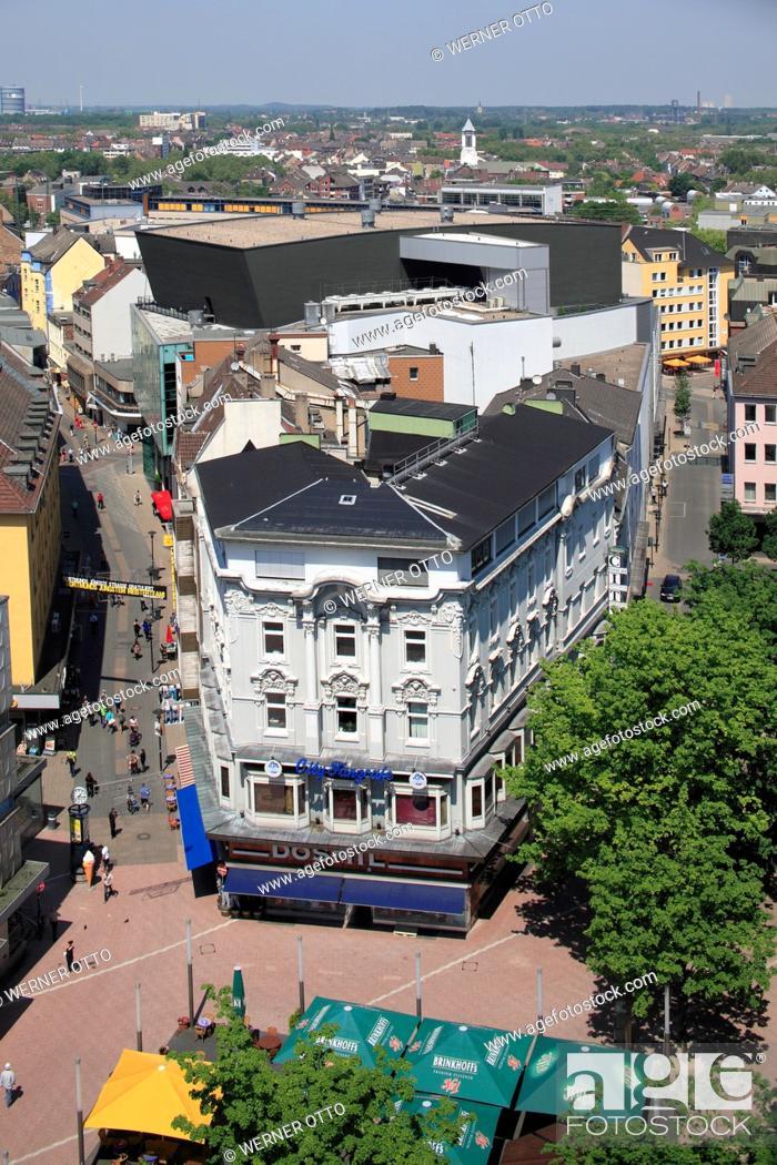 Stock Photo: Germany, Dortmund, Ruhr area, Westphalia, North Rhine-Westphalia, NRW, city view, aerial view, town centre, Platz von Leeds, Leeds square, Brueck street.