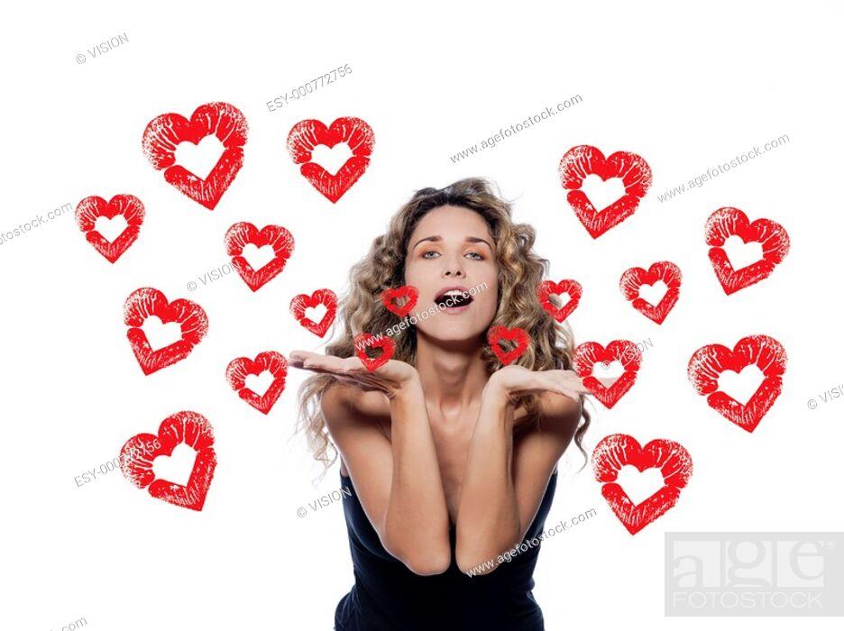 Stock Photo: beautiful caucasian woman sending a kiss portrait isolated studio on white background.