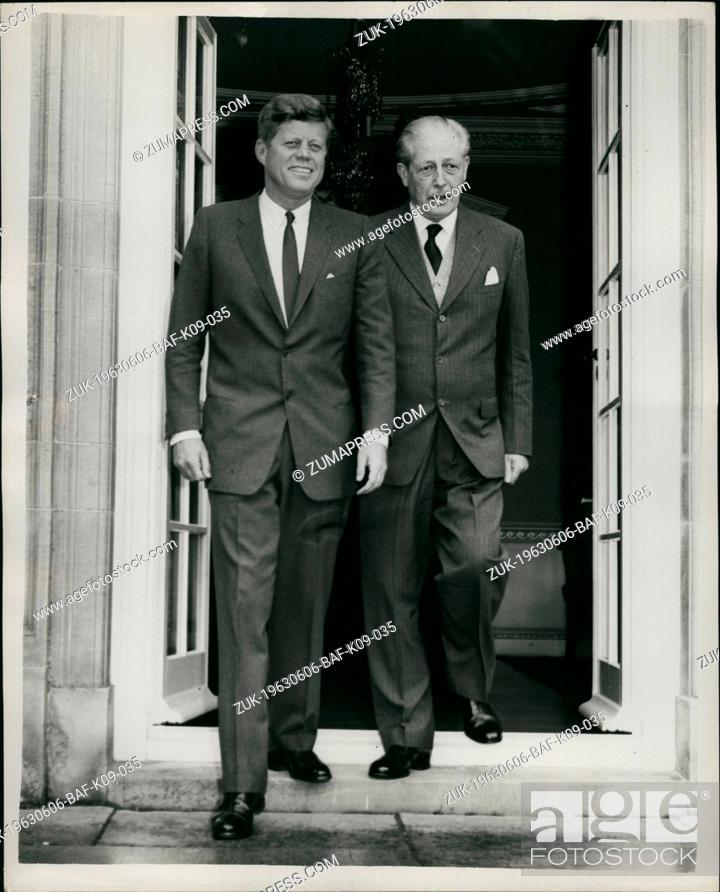 Stock Photo: Jun. 06, 1963 - Kennedy Meets With Mac: President Kennedy and Mr Macmillan are holding weekend talks at Birch Grove, the country home of the British Premier in.