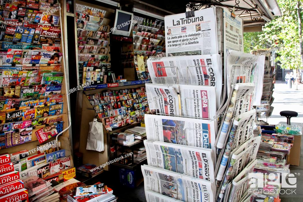 Newspaper kiosk with Spanish newspapers and magazines in