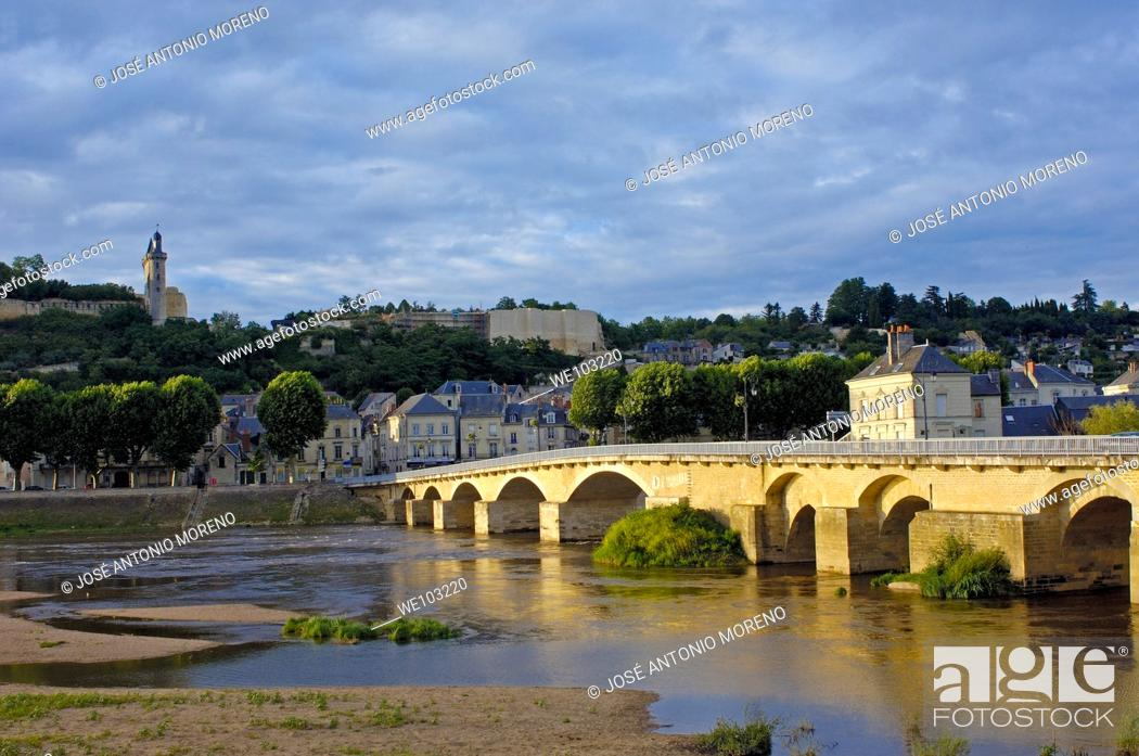 Stock Photo: Chinon Castle and Vienne River, Chinon, Indre-et-Loire, Loire Valley, France.