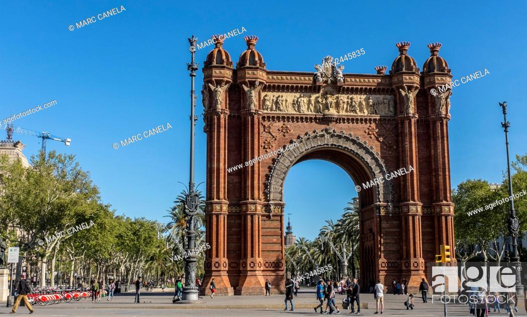 Stock Photo: Europe, Spain, Barcelona, The Arc de Triomf is an arch in the manner of a memorial or triumphal arch in Barcelona Catalonia, Spain.