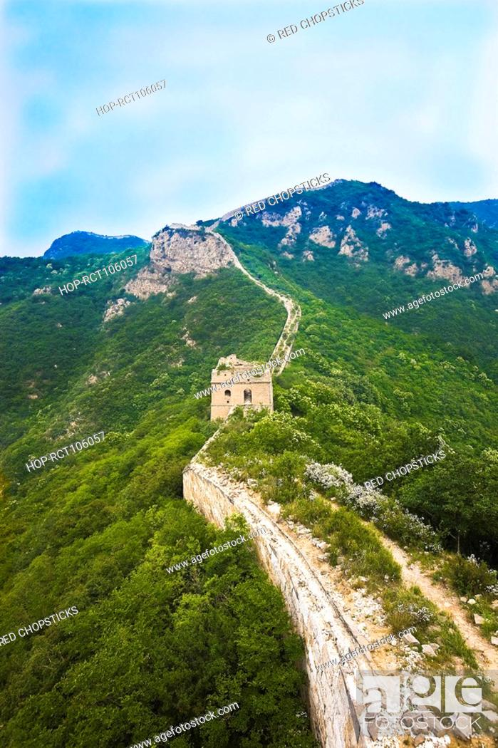 Stock Photo: High angle view of a fortified wall, Great Wall Of China, Beijing, China.