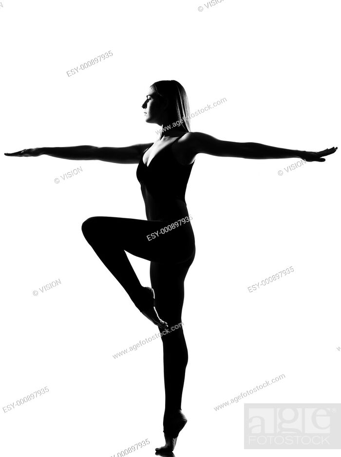 Stock Photo: beautiful caucasian tall woman ballet dancer standing pose full length on studio isolated white background.