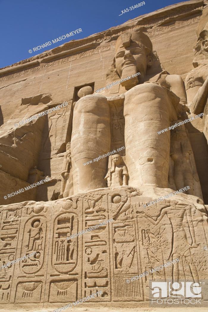 Stock Photo: Ramses II Statue, Ramses II Temple, UNESCO World Heritage Site, Abu Simbel, Egypt.