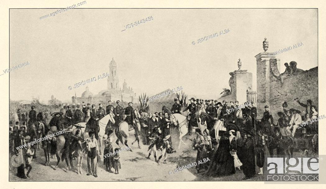 Stock Photo: Mexican war. Entry of the army from France to Mexico on June 10, 1863. History of France, old engraved illustration image from the book Histoire contemporaine.