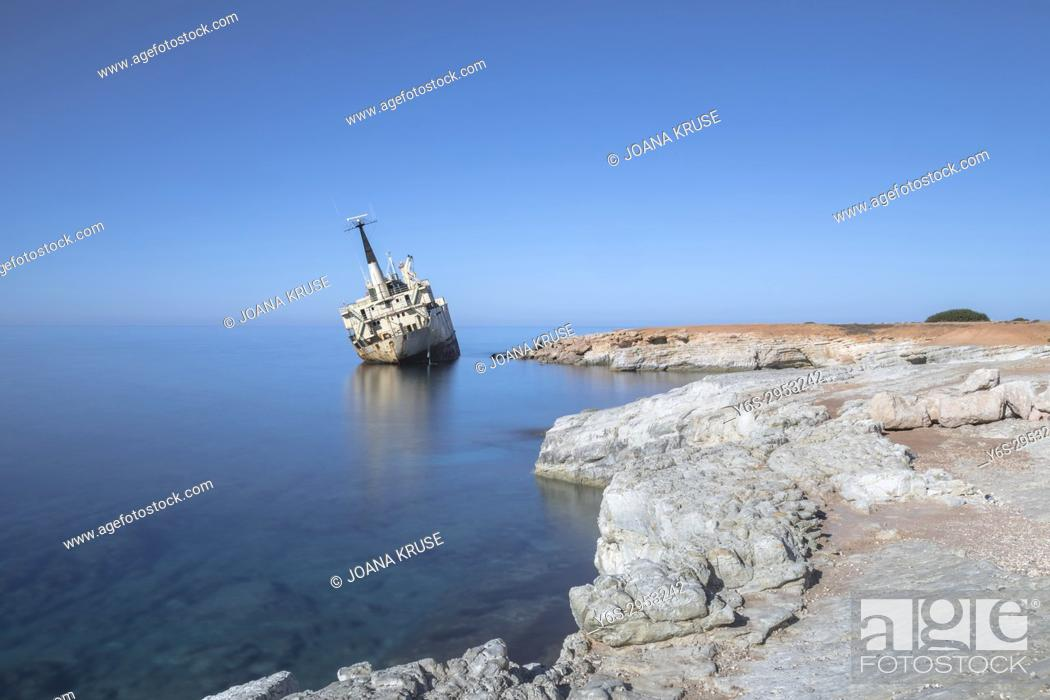 Stock Photo: Edro III shipwreck, Pegeia, Paphos, Cyprus.