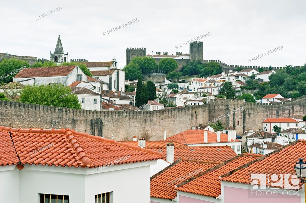 Stock Photo: View on medieval town of Obidos with city wall and fortress, Leiria district, Portugal, Europe.