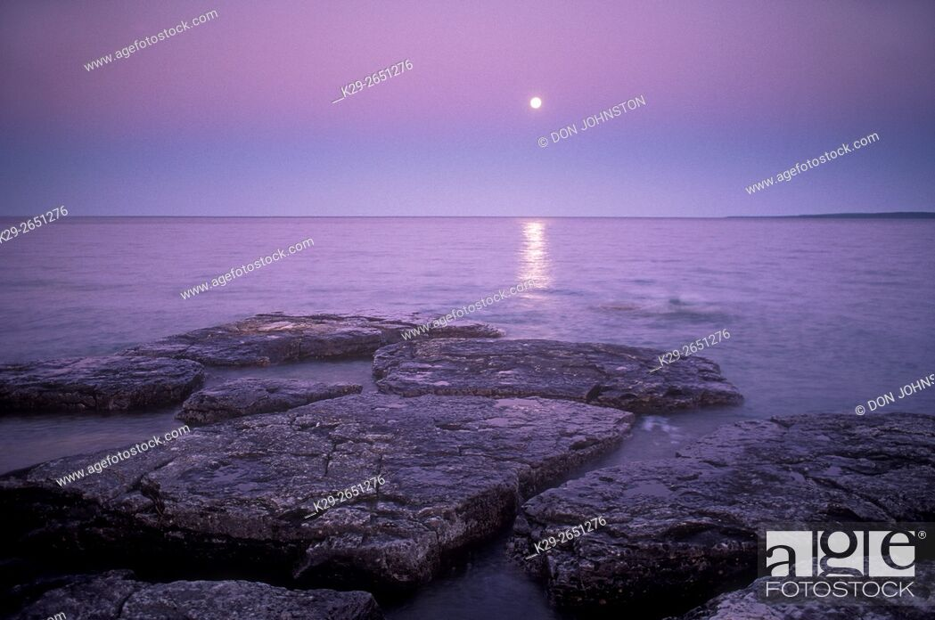 Stock Photo: Moonrise over Mississagi Strait, Mississagi Lighthouse, Manitoulin Island, Ontario, Canada.