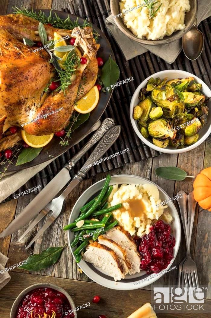Stock Photo: Homemade Thanksgiving Turkey Dinner with All the Sides.