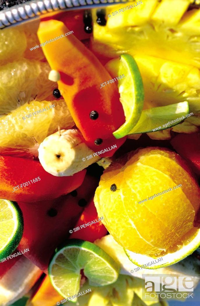 Stock Photo: Jamaica, Port Antonio, plate of local fruits.