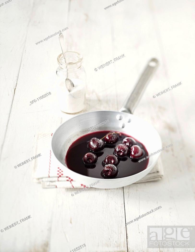 Stock Photo: Preserved cherries.