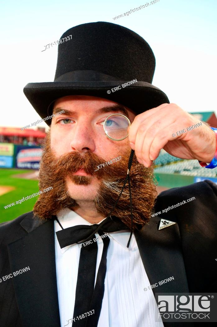 Stock Photo: Contestant in the National Beard and Moustache Championships, in Lancaster, PA  October 8, 2011.