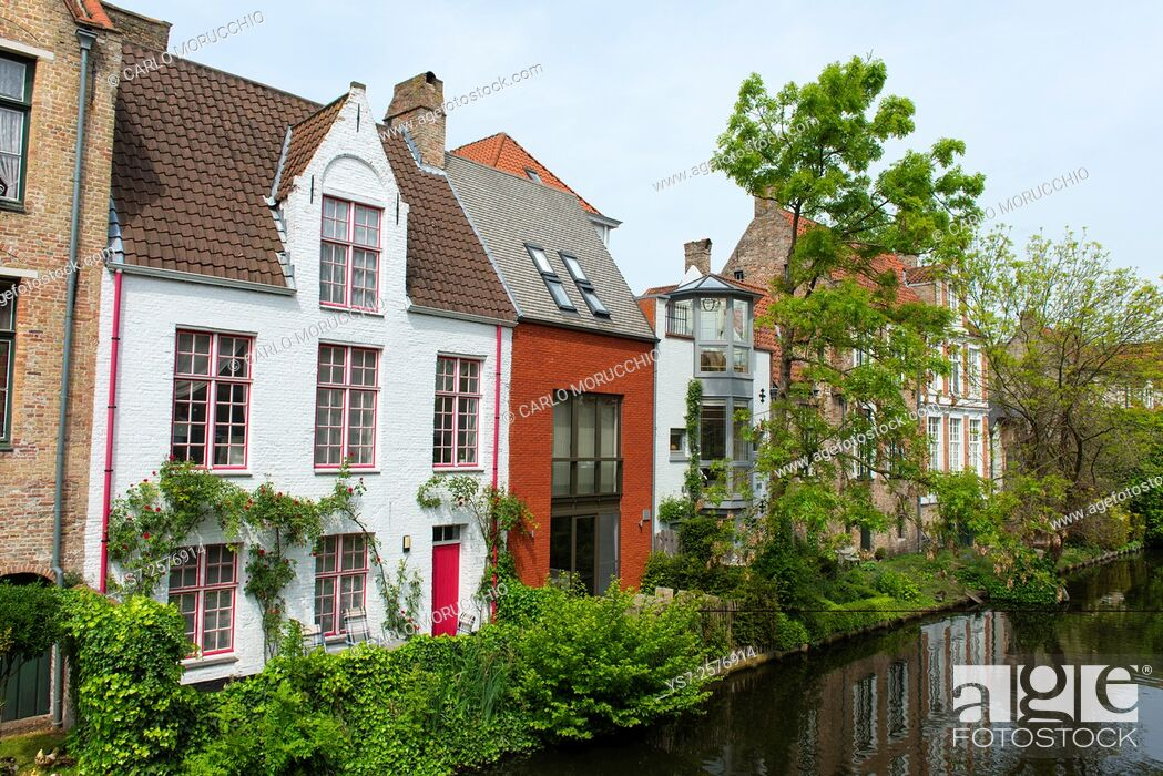 Stock Photo: Typical buildings, Bruges, Belgium, Europe.