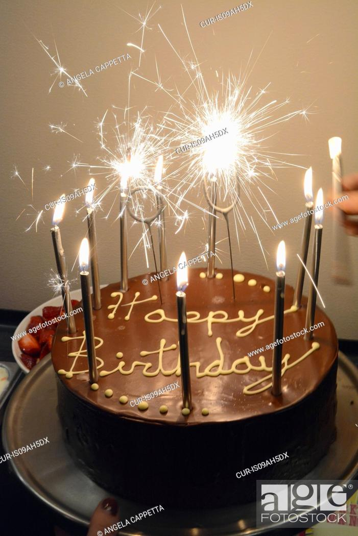 Prime Chocolate Birthday Cake With Sparklers And Candles Stock Photo Funny Birthday Cards Online Elaedamsfinfo