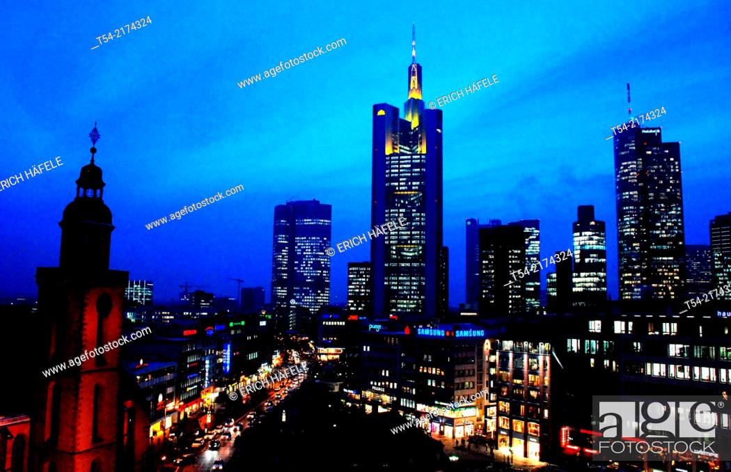Stock Photo: Skyline of Frankfurt am Main at dusk.