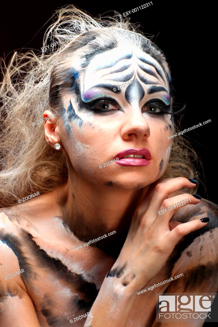 Stock Photo: White tiger - beautiful model with bodypainting.