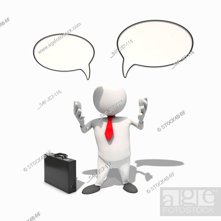 Stock Photo: Anthropomorphic businessman with speech bubbles above him, CGI.