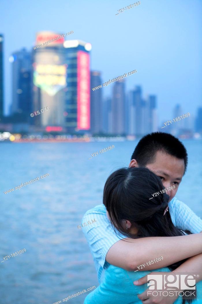 Stock Photo: Shanghai sunset with hug.