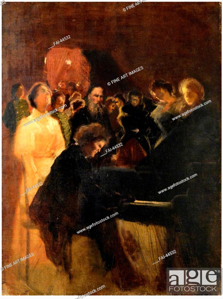 Stock Photo: Leo Tolstoy at the concert given by Anton Rubinstein by Pasternak, Leonid Osipovich (1862-1945)/Pastel on cardboard/Realism/1895/Russia/State Museum of Leo.