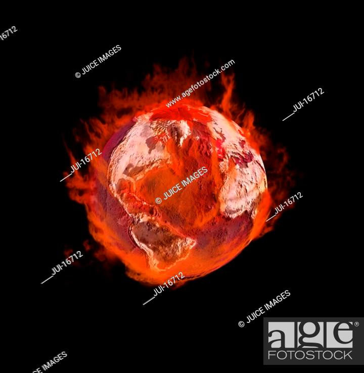 Stock Photo: Earth on fire.